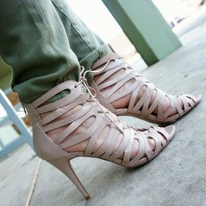 Nine West Caged lace up booties